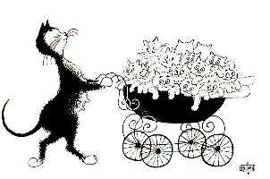 Le dessinateur de BD et illustrateur anglais ROLAND FIDDY a signé de très bonnes vignettes humoristiques mettant en scène des chats.